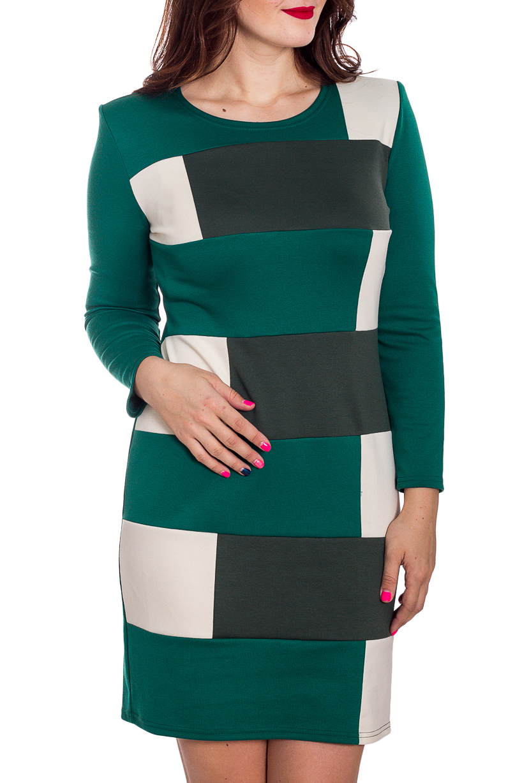 ПлатьеПлатья<br>Цветное женское платье с круглой горловиной и длинными рукавами. Модель выполнена из плотного трикотажа. Отличный выбор для повседневного гардероба.  В изделии использованы цвета: зеленый, белый и др.  Рост девушки-фотомодели 180 см.<br><br>Горловина: С- горловина<br>По длине: До колена<br>По материалу: Вискоза,Трикотаж<br>По образу: Город<br>По рисунку: С принтом,Цветные<br>По сезону: Весна,Осень,Зима<br>По силуэту: Полуприталенные<br>По стилю: Повседневный стиль<br>По форме: Платье - футляр<br>Рукав: Длинный рукав<br>Размер : 46,48<br>Материал: Джерси<br>Количество в наличии: 2