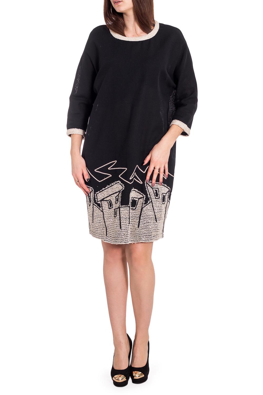 ПлатьеПлатья<br>Интересное платье с аппликацией. Модель выполнена из натурального хлопка. Отличный выбор для повседневного гардероба.  В изделии использованы цвета: черный, бежевый  Рост девушки-фотомодели 173 см.<br><br>Горловина: С- горловина<br>По длине: До колена<br>По материалу: Хлопок<br>По рисунку: Однотонные,С принтом<br>По силуэту: Свободные<br>По стилю: Повседневный стиль<br>По элементам: С декором<br>Рукав: Рукав три четверти<br>По сезону: Осень,Весна,Зима<br>Размер : 44,46<br>Материал: Хлопок<br>Количество в наличии: 2