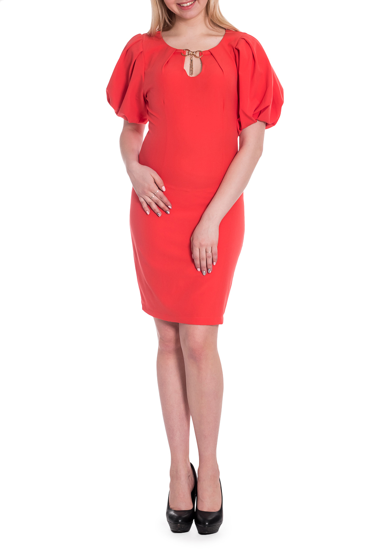 ПлатьеПлатья<br>Однотонное платье приталенного силуэта с объемными рукавами и декоративной quot;капелькойquot;. Модель выполнена из приятного материала. Отличный выбор для любого случая.  В изделии использованы цвета: коралловый  Рост девушки-фотомодели 170 см<br><br>Горловина: С- горловина<br>По длине: До колена<br>По материалу: Тканевые<br>По рисунку: Однотонные<br>По силуэту: Приталенные<br>По стилю: Нарядный стиль,Повседневный стиль<br>По форме: Платье - футляр<br>По элементам: С декором,С отделочной фурнитурой<br>Рукав: Короткий рукав<br>По сезону: Осень,Весна<br>Размер : 42,46,48<br>Материал: Плательная ткань<br>Количество в наличии: 3