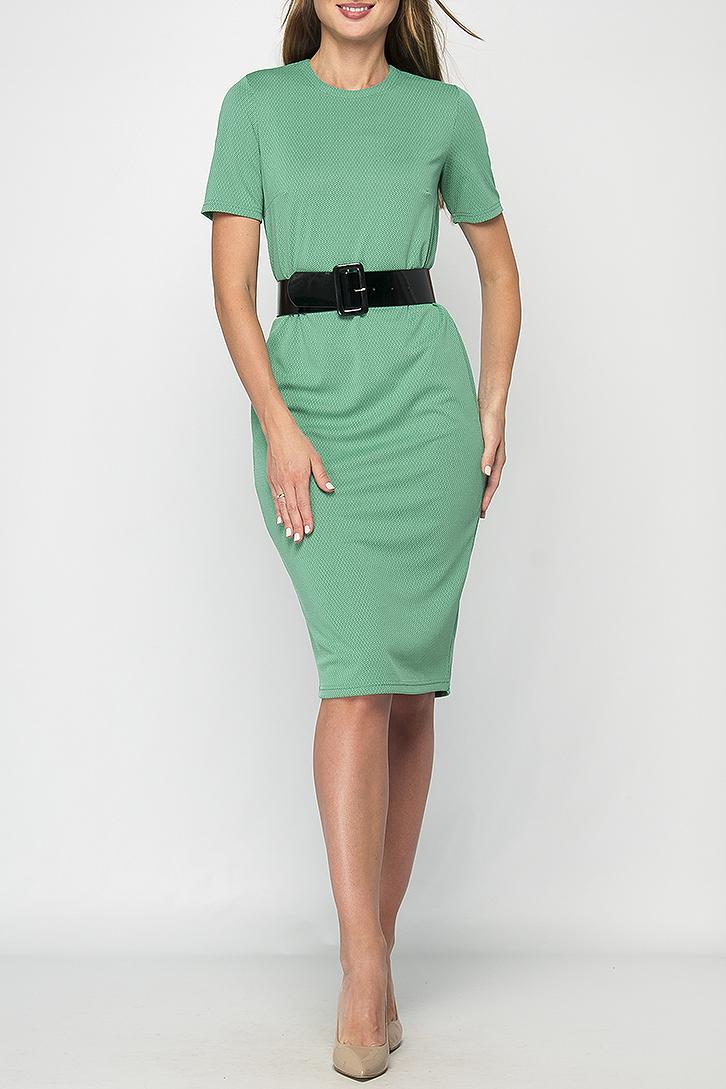 ПлатьеПлатья<br>Платье миди прямого силуэта из мягкого трикотажного материала, имеет круглый вырез горловины и короткий рукав, на спинке в области горловины есть застежка на пуговицу. Такое платье поможет Вам создать элегантный и женственный образ на каждый день Платье без пояса.  Параметры изделия:  44 размер: обхват груди - 94 см, длина рукава - 23 см, длина изделия - 106 см;  52 размер: обхват груди - 102 см, длина рукава - 24 см, длина изделия - 111 см.  В изделии использованы цвета: зеленый  Рост девушки-фотомодели 175 см.<br><br>Горловина: С- горловина<br>По длине: Ниже колена<br>По материалу: Тканевые<br>По рисунку: Однотонные<br>По силуэту: Приталенные<br>По стилю: Кэжуал,Офисный стиль,Повседневный стиль<br>По форме: Платье - футляр<br>Рукав: Короткий рукав<br>По сезону: Осень,Весна,Зима<br>Размер : 42,44,46,52,54<br>Материал: Плательная ткань<br>Количество в наличии: 6