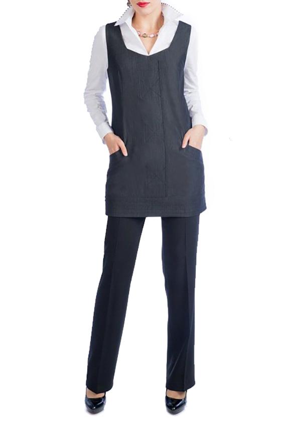 Сарафан-туникаСарафаны<br>Универсальный сарафан-туника из плотной костюмной ткани. Отличный выбор для повседневного и делового гардероба.  Цвет: серо-синий  Ростовка изделия 170 см.<br><br>Бретели: Широкие бретели<br>По длине: До колена,Мини<br>По материалу: Тканевые<br>По рисунку: Однотонные<br>По силуэту: Полуприталенные<br>По стилю: Офисный стиль,Повседневный стиль<br>По элементам: С карманами<br>Рукав: Без рукавов<br>По сезону: Осень,Весна,Зима<br>Горловина: Фигурная горловина<br>Размер : 44<br>Материал: Плательная ткань<br>Количество в наличии: 2