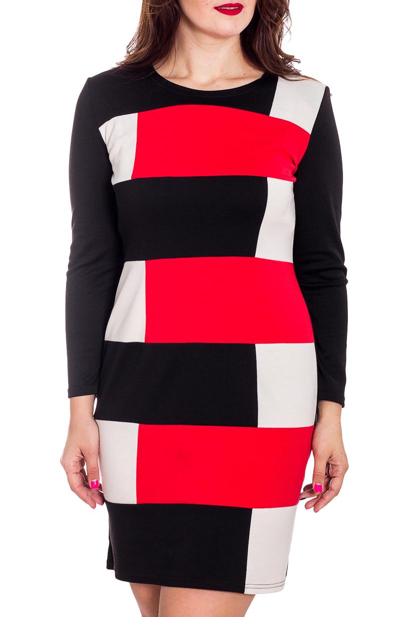 ПлатьеПлатья<br>Цветное женское платье с круглой горловиной и длинными рукавами. Модель выполнена из плотного трикотажа. Отличный выбор для повседневного гардероба.  В изделии использованы цвета: черный, красный, белый и др.  Рост девушки-фотомодели 180 см.<br><br>Горловина: С- горловина<br>По длине: До колена<br>По материалу: Вискоза,Трикотаж<br>По рисунку: С принтом,Цветные<br>По сезону: Весна,Осень,Зима<br>По силуэту: Полуприталенные<br>По стилю: Повседневный стиль<br>По форме: Платье - футляр<br>Рукав: Длинный рукав<br>Размер : 46,48,52<br>Материал: Джерси<br>Количество в наличии: 3