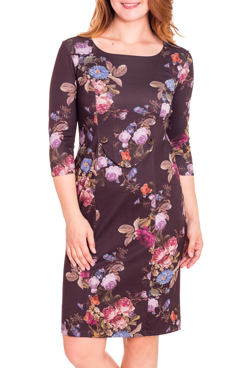 ПлатьеПлатья<br>Красивое женское платье с круглой горловиной и рукавами 3/4. Модель выполнена из приятного трикотажа. Отличный выбор для повседневного гардероба.  Цвет: коричневый, мультицвет  Рост девушки-фотомодели 180 см.<br><br>Горловина: С- горловина<br>По длине: До колена<br>По материалу: Вискоза,Трикотаж<br>По рисунку: Растительные мотивы,Цветные,Цветочные,С принтом<br>По сезону: Весна,Осень,Зима<br>По стилю: Повседневный стиль<br>По форме: Платье - футляр<br>Рукав: Рукав три четверти<br>По силуэту: Приталенные<br>Размер : 48,50,52,54<br>Материал: Трикотаж<br>Количество в наличии: 11