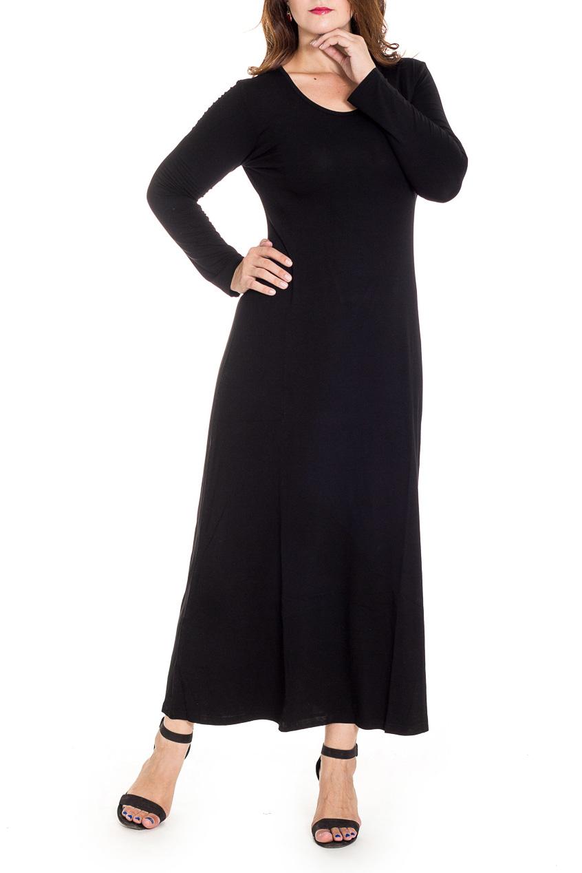 ПлатьеПлатья<br>Однотонное платье в пол с длинными рукавами. Модель выполнена из приятного материала. Отличный выбор для любого случая.  В изделии использованы цвета: черный  Рост девушки-фотомодели 180 см.<br><br>Горловина: С- горловина<br>По длине: Макси<br>По материалу: Вискоза<br>По рисунку: Однотонные<br>По силуэту: Полуприталенные<br>По стилю: Офисный стиль,Повседневный стиль<br>По форме: Платье - трапеция<br>Рукав: Длинный рукав<br>По сезону: Осень,Весна,Зима<br>Размер : 44,48<br>Материал: Вискоза<br>Количество в наличии: 2