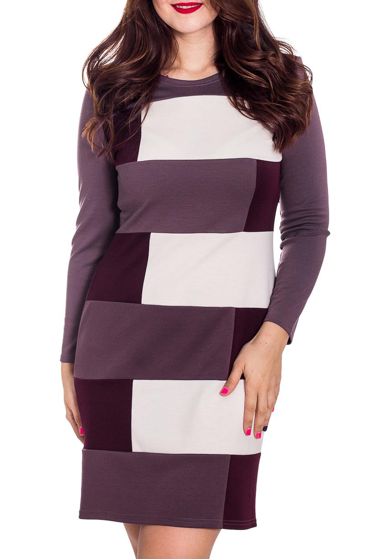 ПлатьеПлатья<br>Цветное женское платье с круглой горловиной и длинными рукавами. Модель выполнена из плотного трикотажа. Отличный выбор для повседневного гардероба.  В изделии использованы цвета: фиолетовый, белый и др.  Рост девушки-фотомодели 180 см.<br><br>Горловина: С- горловина<br>По длине: До колена<br>По материалу: Вискоза,Трикотаж<br>По образу: Город<br>По рисунку: С принтом,Цветные<br>По сезону: Весна,Осень,Зима<br>По силуэту: Полуприталенные<br>По стилю: Повседневный стиль<br>По форме: Платье - футляр<br>Рукав: Длинный рукав<br>Размер : 48,50<br>Материал: Джерси<br>Количество в наличии: 2