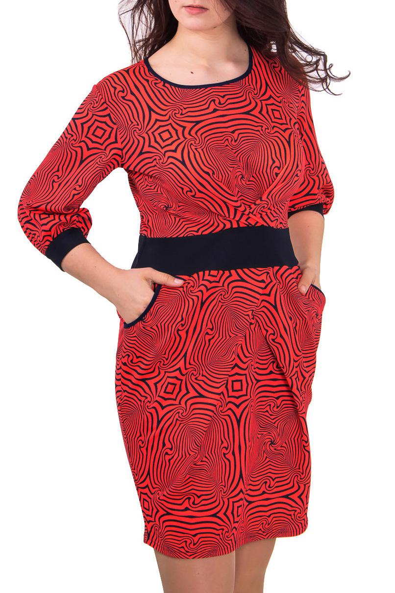 ПлатьеПлатья<br>Женское платье из плотного трикотажа с абстрактным принтом.  Цвет: кислотный розово-оранжевый  Рост девушки-фотомодели - 180 см<br><br>Горловина: С- горловина<br>По материалу: Вискоза,Трикотаж<br>По рисунку: Цветные,Зебра,С принтом<br>По силуэту: Полуприталенные<br>По стилю: Повседневный стиль<br>По форме: Платье - футляр<br>Рукав: Рукав три четверти<br>По сезону: Осень,Весна,Зима<br>По длине: До колена<br>По элементам: С карманами<br>Размер : 44,46,48,50,52<br>Материал: Джерси<br>Количество в наличии: 6