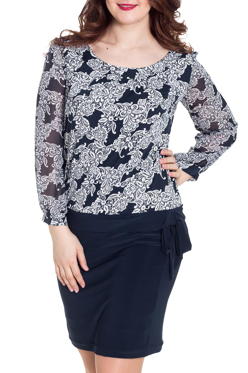 ПлатьеПлатья<br>Интересное женское платье с имитацией блузки и юбки (юбка на подкладе). Модель выполнена из приятного трикотажа и легкого шифона. Отличный выбор для любого случая.  Цвет: синий, белый  Рост девушки-фотомодели 180 см<br><br>Горловина: С- горловина<br>По длине: До колена<br>По материалу: Вискоза,Трикотаж,Шифон<br>По рисунку: С принтом,Цветные<br>По сезону: Весна,Зима,Лето,Осень,Всесезон<br>По силуэту: Полуприталенные<br>По стилю: Нарядный стиль,Повседневный стиль<br>Рукав: Длинный рукав<br>Размер : 48,54,58<br>Материал: Холодное масло + Шифон<br>Количество в наличии: 4