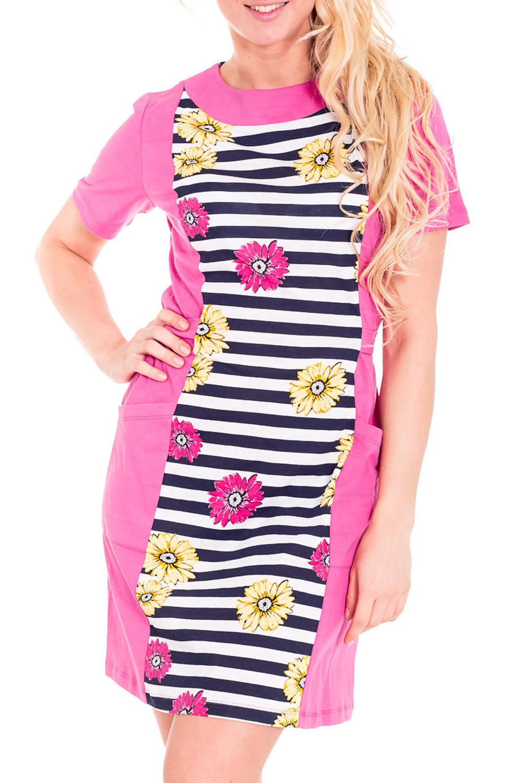ПлатьеПлатья<br>Домашнее платье с круглой горловиной и короткими рукавами. Домашняя одежда, прежде всего, должна быть удобной, практичной и красивой. В платье Вы будете чувствовать себя комфортно, особенно, по вечерам после трудового дня.  Цвет: розовый, белый, синий  Рост девушки-фотомодели 170 см.<br><br>Горловина: С- горловина<br>По рисунку: В полоску,Растительные мотивы,Цветные,Цветочные<br>По сезону: Весна,Осень<br>По силуэту: Полуприталенные<br>Рукав: Короткий рукав<br>По длине: До колена<br>По материалу: Хлопок<br>По форме: Домашние платья<br>Размер : 46,48,52<br>Материал: Хлопок<br>Количество в наличии: 8