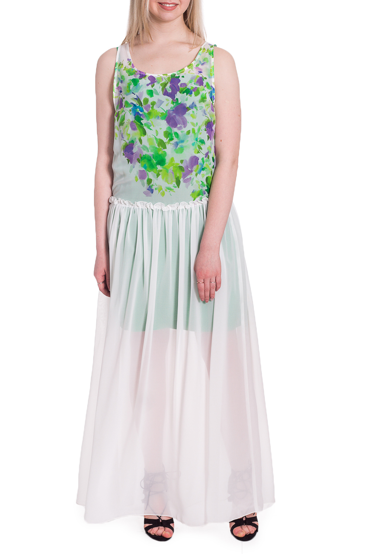 ПлатьеПлатья<br>Нарядное платье из воздушного шифона. Отличный выбор для торжественного мероприятия.  В изделии использованы цвета: белый, зеленый, сиреневый  Рост девушки-фотомодели 170 см<br><br>Горловина: С- горловина<br>По длине: Макси<br>По материалу: Шифон<br>По рисунку: Растительные мотивы,С принтом,Цветные,Цветочные<br>По сезону: Весна,Зима,Лето,Осень,Всесезон<br>По силуэту: Полуприталенные<br>По стилю: Повседневный стиль<br>По форме: Платье - трапеция<br>По элементам: С подкладом<br>Рукав: Без рукавов<br>Размер : 44<br>Материал: Шифон<br>Количество в наличии: 1