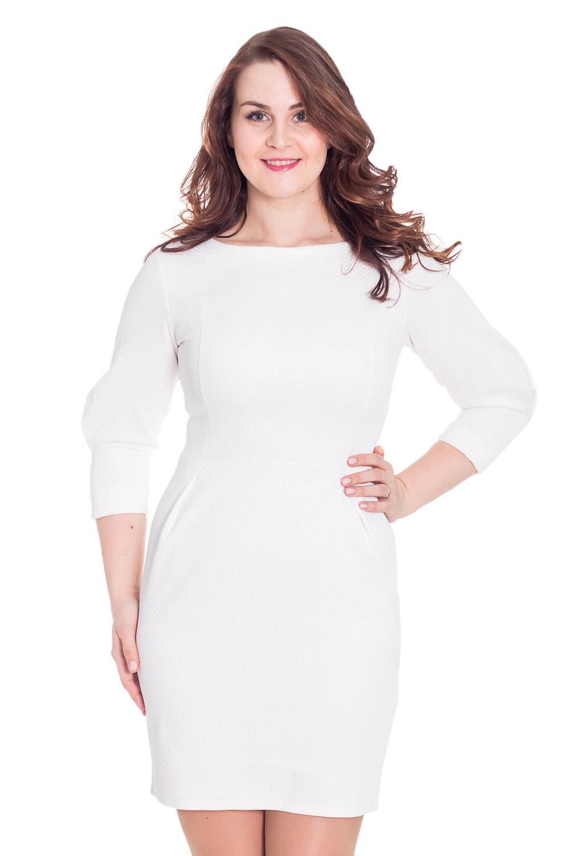 ПлатьеПлатья<br>Однотонное платье с закругленной горловиной и рукавами 3/4. Модель выполнена из приятного материала. Отличный выбор для любого случая.  Цвет: белый  Рост девушки-фотомодели 180 см.<br><br>По образу: Свидание,Город,Офис<br>По стилю: Офисный стиль,Повседневный стиль<br>По материалу: Тканевые<br>По рисунку: Однотонные<br>По сезону: Осень,Весна<br>По силуэту: Приталенные<br>По форме: Платье - футляр<br>По длине: До колена<br>Рукав: Рукав три четверти<br>Горловина: С- горловина<br>Размер: 46,48<br>Материал: 100% полиэстер<br>Количество в наличии: 1