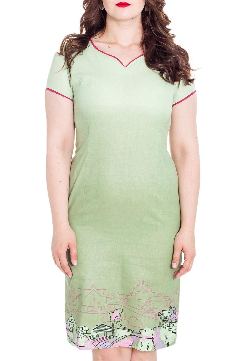 ПлатьеПлатья<br>Летнее женское платье полуприталенного силуэта. Выполнено из приятной к телу льняной ткани. Модель украшена интересным принтом.  Цвет: зеленый, салатовый, мультицвет  Рост девушки-фотомодели 180 см<br><br>По длине: До колена<br>По материалу: Лен<br>По рисунку: С принтом,Цветные<br>По силуэту: Полуприталенные<br>По стилю: Летний стиль,Повседневный стиль<br>По форме: Платье - трапеция<br>По элементам: С разрезом<br>Разрез: Короткий<br>Рукав: Короткий рукав<br>По сезону: Лето<br>Горловина: Фигурная горловина<br>Размер : 48<br>Материал: Лен<br>Количество в наличии: 1
