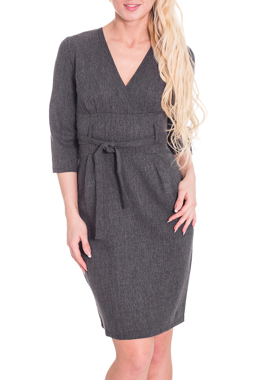 ПлатьеПлатья<br>Красивое женское платье с V-образной горловиной и рукавами 3/4. Модель выполнена из костюмной ткани. Отличный выбор для любого случая.  Параметры изделия:  Размер 44: Длина изделия - 90 см Ог-88 см От-70 см Об-94 см Длина плеча-10 см Длина рукава-43 см  Размер 48: Длина изделия - 92 см Ог-96 см От-78 см Об-96 см Длина плеча-10 см Длина рукава-43 см  Размер 50: Длина изделия - 93 см Ог-100 см От-82 см Об-106 см Длина плеча-10 см Длина рукава-43 см  Размер 52: Длина изделия - 94 см Ог-104 см От-88 см Об-108 см Длина плеча-10 см Длина рукава-43 см   Размер 54: Длина изделия - 94 Ог-108 см От-92 см Об-114 см Длина плеча-10 см Длина рукава-43 см  Цвет: серый  Рост девушки-фотомодели 170 см<br><br>Горловина: V- горловина,Запах<br>По длине: До колена<br>По материалу: Костюмные ткани,Шерсть<br>По образу: Город,Офис,Свидание<br>По рисунку: Однотонные<br>По сезону: Зима<br>По силуэту: Полуприталенные<br>По стилю: Офисный стиль,Повседневный стиль<br>По форме: Платье - футляр<br>По элементам: С декором,С поясом<br>Рукав: Рукав три четверти<br>Размер : 44,46,48,50,52,54,56<br>Материал: Костюмно-плательная ткань<br>Количество в наличии: 3