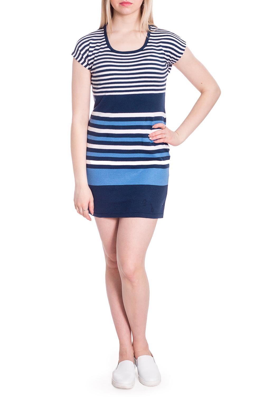 ПлатьеПлатья<br>Трикотажное платье с короткими рукавами. Модель выполнена из мягкого трикотажа. Отличный выбор для повседневного гардероба. Ростовка изделия 158-164 см.  В изделии использованы цвета: синий, белый, голубой  Рост девушки-фотомодели 170 см.<br><br>Горловина: С- горловина<br>По длине: До колена<br>По материалу: Трикотаж<br>По рисунку: В полоску,С принтом,Цветные<br>По сезону: Весна,Лето<br>По силуэту: Приталенные<br>По стилю: Кэжуал,Повседневный стиль<br>По форме: Платье - футляр<br>Рукав: Короткий рукав<br>Размер : 44,48<br>Материал: Трикотаж<br>Количество в наличии: 2