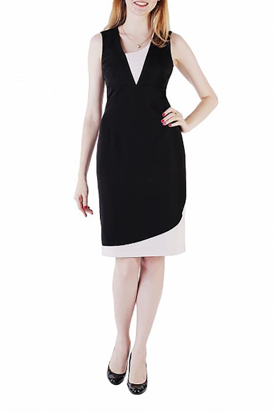 ПлатьеПлатья<br>Платье-футляр из тонкой костюмной ткани-стрейч.  Вырез и низ платья украшены ассиметричными вставкми бежевого цвета.   Длина изделия по спинке 93 см.  В изделии использованы цвета: черный, светло-бежевый  Ростовка изделия 161-170 см.<br><br>Горловина: Фигурная горловина<br>По длине: До колена<br>По материалу: Тканевые<br>По рисунку: Цветные<br>По сезону: Лето,Осень,Весна<br>По силуэту: Полуприталенные<br>По стилю: Повседневный стиль<br>По форме: Платье - футляр<br>По элементам: С разрезом<br>Разрез: Короткий,Шлица<br>Рукав: Без рукавов<br>Размер : 42,44,48,50<br>Материал: Плательная ткань<br>Количество в наличии: 4