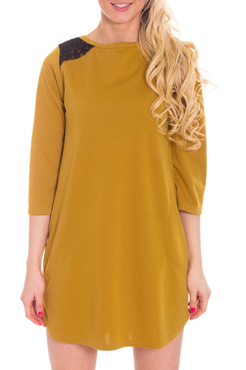ПлатьеТуники<br>Однотоннон платье с рукавами 3/4 и контрастным декором на плечах. Модель выполнена из приятного трикотажа. Отличный выбор для любого случая.Ростовка изделия 170-176 см.За счет свободного кроя и эластичного материала изделие можно носить во время беременностиЦвет: горчичный, черныйРост девушки-фотомодели 170 см<br><br>Горловина: С- горловина<br>Рукав: Рукав три четверти<br>Материал: Трикотаж<br>Рисунок: Однотонные<br>Сезон: Весна,Осень,Зима<br>Силуэт: Свободные<br>Стиль: Повседневный стиль<br>Элементы: С декором<br>Размер : 46,48<br>Материал: Джерси<br>Количество в наличии: 2