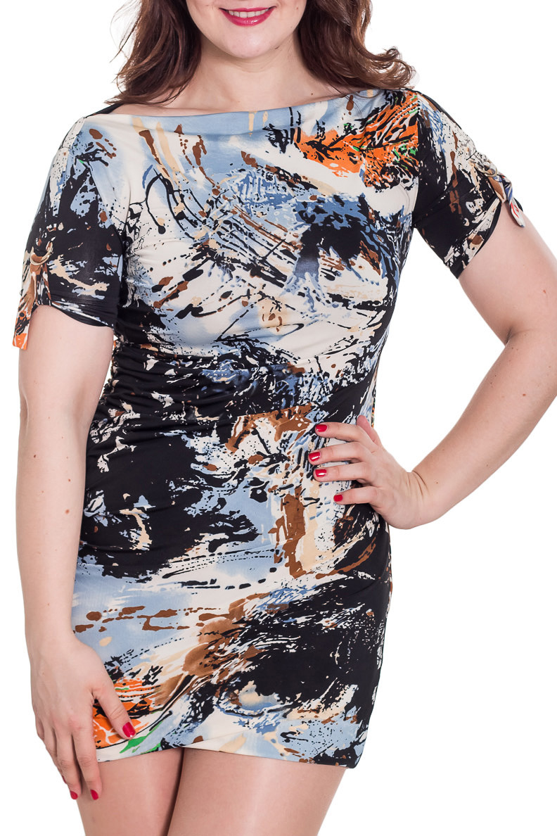 ПлатьеПлатья<br>Цветное платье с элегантным вырезом горловины. Модель выполнена из приятного трикотажа. Отличный выбор для повседневного гардероба.  Цвет: бежевый, черный, серый, голубой  Рост девушки-фотомодели 180 см<br><br>Горловина: Лодочка<br>По длине: Мини<br>По материалу: Вискоза,Трикотаж<br>По образу: Город,Свидание<br>По рисунку: Абстракция,С принтом,Цветные<br>По силуэту: Приталенные<br>По стилю: Повседневный стиль<br>По форме: Платье - футляр<br>Рукав: Короткий рукав<br>По сезону: Лето<br>Размер : 48<br>Материал: Холодное масло<br>Количество в наличии: 1