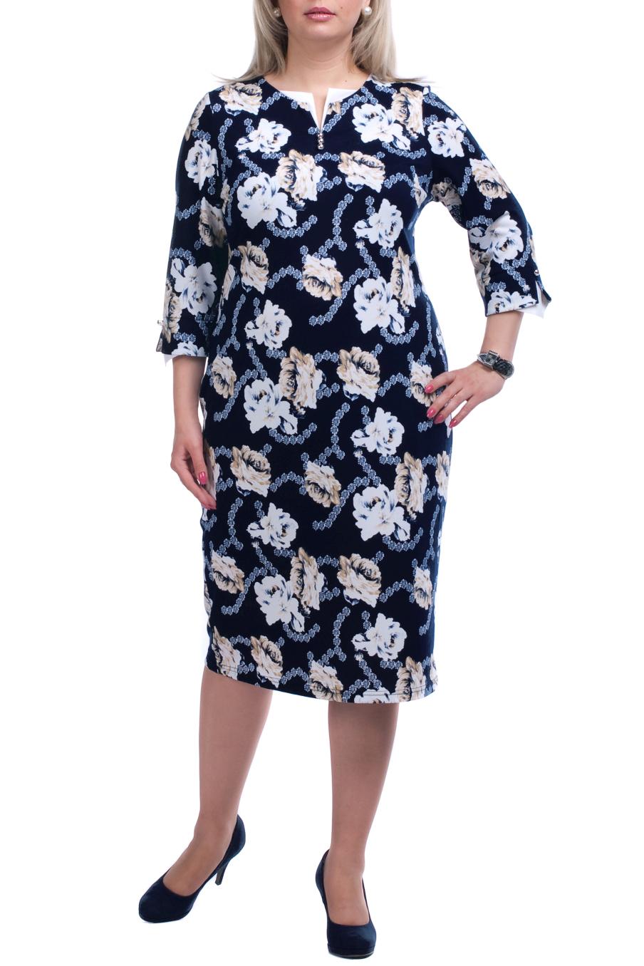 ПлатьеПлатья<br>Красивое платье с интересной горловиной и рукавами 3/4. Модель выполнена из плотного трикотажа. Отличный выбор для повседневного гардероба.  Цвет: синий, белый  Рост девушки-фотомодели 173 см.<br><br>По длине: Ниже колена<br>По материалу: Вискоза,Трикотаж<br>По образу: Город,Свидание<br>По рисунку: Растительные мотивы,Цветные,Цветочные<br>По силуэту: Полуприталенные<br>По стилю: Повседневный стиль<br>По форме: Платье - футляр<br>По элементам: С декором<br>Рукав: Рукав три четверти<br>По сезону: Осень,Весна<br>Размер : 54,66,68,70<br>Материал: Трикотаж<br>Количество в наличии: 6