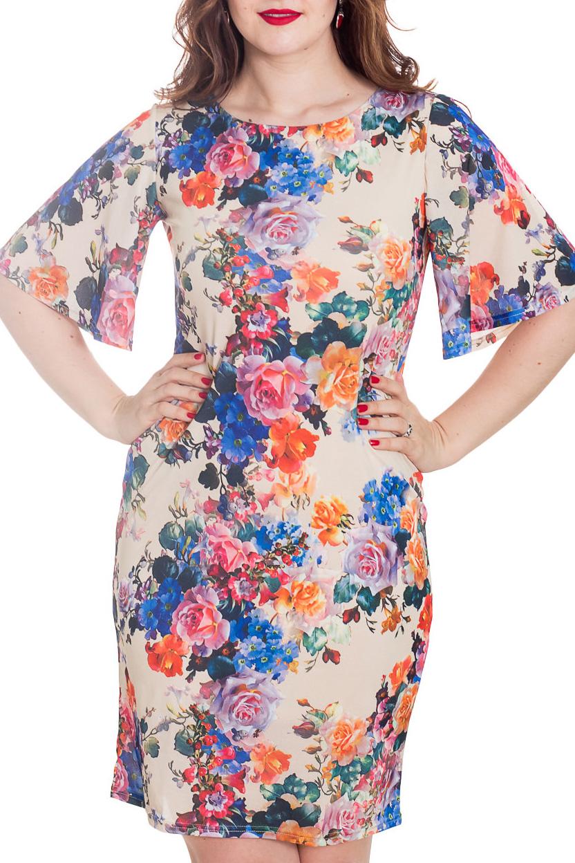 ПлатьеПлатья<br>Элегантное платье лаконичного дизайна приталенного силуэта с круглым вырезом горловины. Модель выполнена из комфортного материала. Оригинальность изделию придает расклешенный ниспадающий рукав.   Длина изделия около 95 см.  Цвет: бежевый и др.  Рост девушки-фотомодели 180 см<br><br>Горловина: С- горловина<br>По длине: До колена<br>По материалу: Тканевые<br>По рисунку: Растительные мотивы,С принтом,Цветные,Цветочные<br>По силуэту: Приталенные<br>По стилю: Повседневный стиль,Романтический стиль<br>По форме: Платье - футляр<br>По элементам: С декором<br>Рукав: До локтя<br>По сезону: Лето<br>Размер : 48-50,52-54<br>Материал: Плательная ткань<br>Количество в наличии: 2