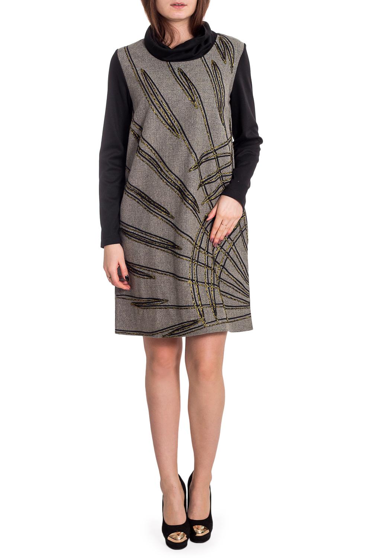 ПлатьеПлатья<br>Интересное платье с аппликацией. Модель выполнена из шерстяной ткани. Отличный выбор для повседневного гардероба.  В изделии использованы цвета: серо-зеленый, черный и др.  Рост девушки-фотомодели 173 см.<br><br>Воротник: Хомут<br>По длине: До колена<br>По материалу: Шерсть<br>По рисунку: С принтом,Цветные<br>По сезону: Зима<br>По силуэту: Свободные<br>По стилю: Повседневный стиль<br>По форме: Платье - трапеция<br>По элементам: С декором<br>Рукав: Длинный рукав<br>Размер : 44,46,48,50<br>Материал: Шерсть<br>Количество в наличии: 11