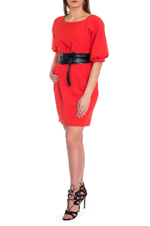 ПлатьеПлатья<br>Однотонное платье с объемными рукавами до локтя. Модель выполнена из приятного материала. Отличный выбор для любого случая. Платье без пояса.  В изделии использованы цвета: красный  Рост девушки-фотомодели 173 см.<br><br>Горловина: С- горловина<br>По длине: До колена<br>По материалу: Тканевые<br>По рисунку: Однотонные<br>По силуэту: Полуприталенные<br>По стилю: Повседневный стиль<br>По форме: Платье - футляр<br>По элементам: С манжетами,С открытой спиной<br>Рукав: До локтя<br>По сезону: Осень,Весна<br>Размер : 50,52,54,56<br>Материал: Плательная ткань<br>Количество в наличии: 4