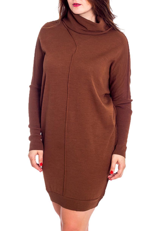 Платье-туникаПлатья<br>Свободное платье-туника с длинными рукавами из вязаного трикотажа. Вязаный трикотаж - это красота, тепло и комфорт. В вязаных вещах очень легко оставаться женственной и в то же время не замёрзнуть.  Цвет: коричневый  Рост девушки-фотомодели 180 см<br><br>Воротник: Стойка<br>По длине: До колена<br>По материалу: Вязаные,Трикотаж<br>По образу: Город<br>По рисунку: Однотонные<br>По сезону: Весна,Осень,Зима<br>По силуэту: Свободные<br>По стилю: Повседневный стиль<br>По форме: Платье - баллон<br>Рукав: Длинный рукав<br>Размер : 46-48,50-52<br>Материал: Вязаное полотно<br>Количество в наличии: 2