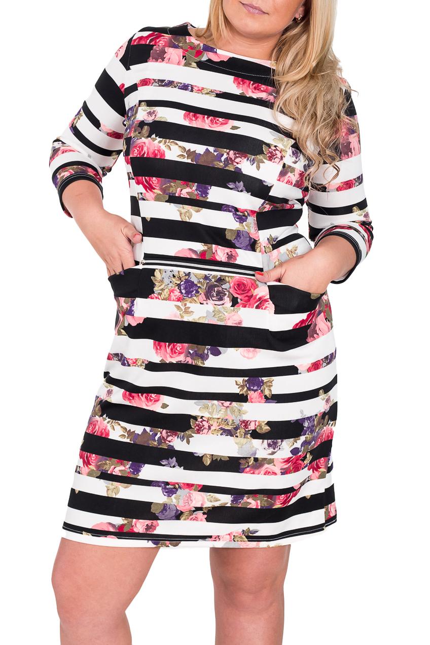 ПлатьеПлатья<br>Красивое платье с круглой горловиной и рукавами 3/4. Модель выполнена из плотного трикотажа. Отличный выбор для повседневного гардероба.  Цвет: черный, белый, мультицвет  Рост девушки-фотомодели 170 см<br><br>Горловина: С- горловина<br>По материалу: Трикотаж<br>По образу: Город,Свидание<br>По рисунку: В полоску,Растительные мотивы,Цветные,Цветочные,С принтом<br>По силуэту: Полуприталенные<br>По стилю: Повседневный стиль,Молодежный стиль,Романтический стиль<br>По форме: Платье - футляр<br>Рукав: Рукав три четверти<br>По длине: До колена<br>По сезону: Весна,Осень<br>Размер : 46,48,50<br>Материал: Трикотаж<br>Количество в наличии: 5