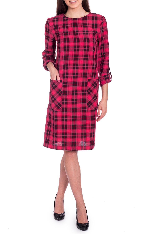 ПлатьеПлатья<br>Красивое платье трапециевидного силуэта. Модель выполнена из приятного материала. Отличный выбор для любого случая.  В изделии использованы цвета: розовый, черный  Рост девушки-фотомодели 170 см<br><br>Горловина: С- горловина<br>По длине: Ниже колена<br>По материалу: Тканевые<br>По рисунку: В клетку,С принтом,Цветные<br>По сезону: Зима,Осень,Весна<br>По силуэту: Свободные<br>По стилю: Кэжуал,Повседневный стиль<br>По форме: Платье - трапеция<br>По элементам: С карманами,С патами<br>Рукав: Рукав три четверти<br>Размер : 42,44,46<br>Материал: Плательная ткань<br>Количество в наличии: 3