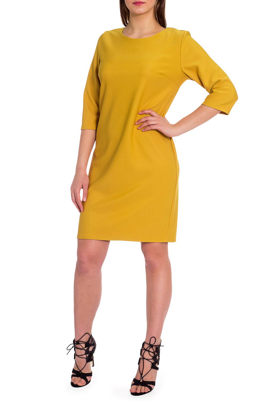 ПлатьеПлатья<br>Однотонное платье с круглой горловиной и рукавами 3/4. Модель выполнена из приятного материала. Отличный выбор для любого случая.  В изделии использованы цвета: желтый  Рост девушки-фотомодели 173 см.<br><br>Горловина: С- горловина<br>По длине: До колена<br>По материалу: Тканевые<br>По рисунку: Однотонные<br>По силуэту: Полуприталенные<br>По стилю: Кэжуал,Повседневный стиль<br>По форме: Платье - футляр<br>Рукав: Рукав три четверти<br>По сезону: Осень,Весна<br>Размер : 50,54,56,58,60<br>Материал: Плательная ткань<br>Количество в наличии: 5
