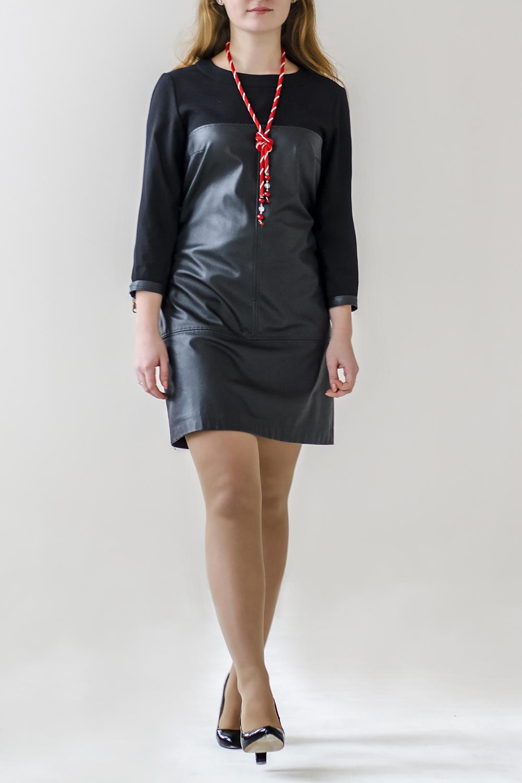 ПлатьеПлатья<br>Ультрамодное платье с круглой горловиной и рукавами 3/4. Модель выполнена из плотного трикотажа и искусственной кожи.  В изделии использованы цвета: черный  Ростовка изделия 170 см.<br><br>Горловина: С- горловина<br>По длине: До колена<br>По материалу: Искусственная кожа,Трикотаж<br>По рисунку: Однотонные<br>По сезону: Зима,Осень,Весна<br>По силуэту: Полуприталенные<br>По стилю: Байкерский стиль,Повседневный стиль<br>Рукав: Рукав три четверти<br>Размер : 40,42,44,46<br>Материал: Трикотаж + Искусственная кожа<br>Количество в наличии: 4