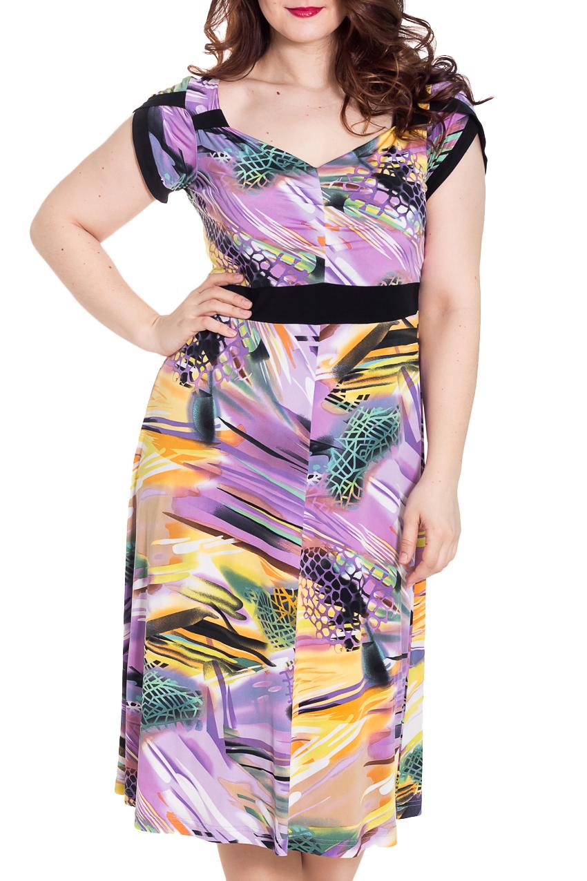 ПлатьеПлатья<br>Удлиненное платье с фигурной горловиной и короткими рукавами. Модель выполнена из мягкого трикотажа. Отличный выбор для повседневного гардероба.  Цвет: сиреневый, желтый, черный, бирюзовый  Рост девушки-фотомодели 180 см<br><br>По образу: Свидание,Город<br>По стилю: Летний стиль,Повседневный стиль<br>По материалу: Вискоза,Трикотаж<br>По рисунку: Растительные мотивы,С принтом,Цветные,Цветочные<br>По сезону: Лето<br>По силуэту: Полуприталенные<br>По элементам: С завышенной талией<br>По форме: Платье - трапеция<br>По длине: Ниже колена<br>Рукав: Короткий рукав<br>Горловина: Асимметричная горловина<br>Размер: 52,56,50<br>Материал: 70% вискоза 30% полиэстер<br>Количество в наличии: 4