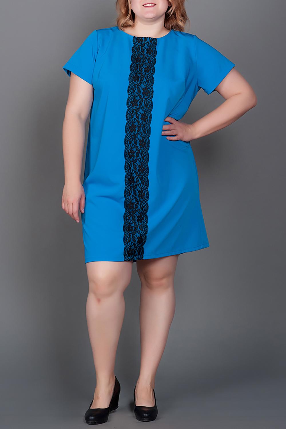 ПлатьеПлатья<br>Нарядное платье с вертикальной гипюровой вставкой, которая визуально вытягивает силуэт. Модель выполнена из приятного материала. Отличный выбор для любого случая.  В изделии использованы цвета: голубой, черный  Ростовка изделия 170 см<br><br>Горловина: С- горловина<br>По длине: До колена<br>По материалу: Гипюр,Костюмные ткани,Тканевые<br>По рисунку: Однотонные<br>По сезону: Весна,Зима,Лето,Осень,Всесезон<br>По силуэту: Прямые<br>По стилю: Нарядный стиль,Повседневный стиль<br>По элементам: С декором<br>Рукав: Короткий рукав<br>Размер : 52,54,56,58,60<br>Материал: Костюмно-плательная ткань<br>Количество в наличии: 10