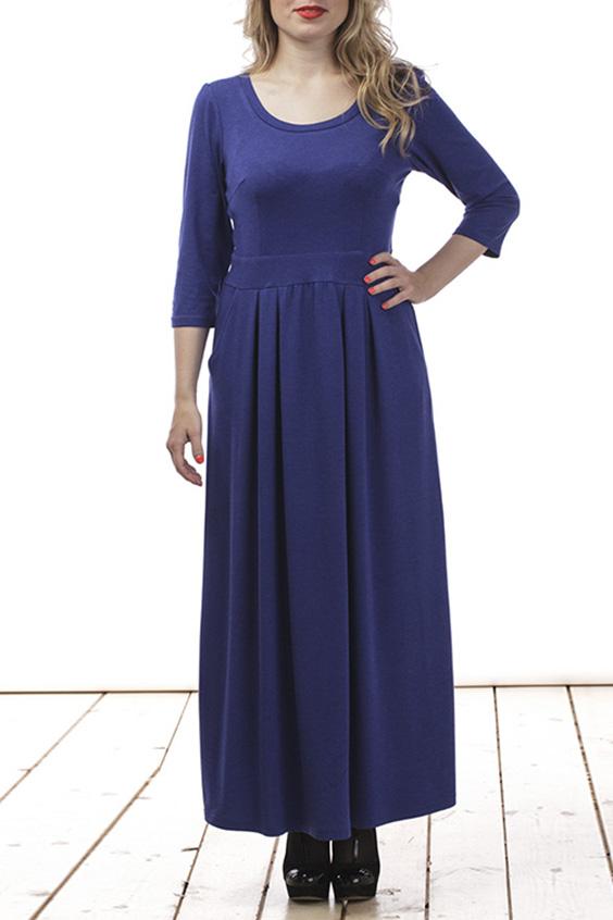 Платье - РоссияПлатья<br>Привлекательное женское платье в пол с круглой горловиной и рукавами 3/4. Модель выполнена из мягкого трикотажа. Отличный выбор для любого случая.  Цвет: синий  Длина изделия 120 см  Длина рукава 42 см   Рост девушки-фотомодели 161 см<br><br>По образу: Город,Офис,Свидание<br>По стилю: Офисный стиль,Повседневный стиль<br>По материалу: Вискоза,Трикотаж<br>По рисунку: Однотонные<br>По сезону: Весна,Осень<br>По силуэту: Полуприталенные<br>По элементам: Со складками<br>По длине: Макси<br>Рукав: Рукав три четверти<br>Горловина: С- горловина<br>Размер: 44,46,48,50,52,54,56<br>Материал: 50% вискоза 50% полиэстер<br>Количество в наличии: 5