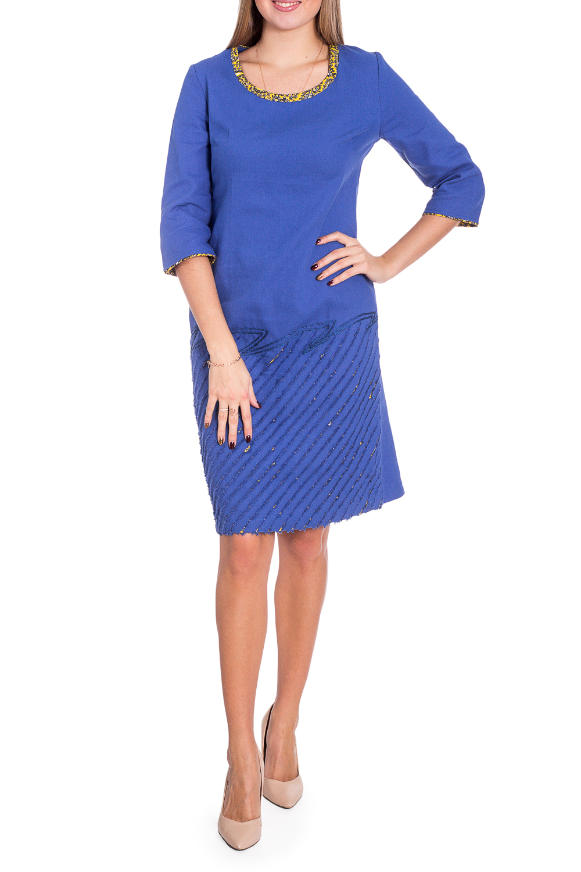 ПлатьеПлатья<br>Красивое женское платье из хлопкового материала с декоративным принтом по низу изделия. Отличный выбор для повседневного гардероба.  В изделии использованы цвета: синий, желтый и др.  Рост девушки-фотомодели 170 см<br><br>Горловина: С- горловина<br>По длине: До колена<br>По материалу: Хлопок<br>По сезону: Зима,Осень,Весна<br>По силуэту: Полуприталенные<br>По стилю: Повседневный стиль<br>По элементам: С декором,С разрезом<br>Рукав: Рукав три четверти<br>Разрез: Короткий,Шлица<br>Размер : 44,46,48,50,52,54<br>Материал: Хлопок<br>Количество в наличии: 9