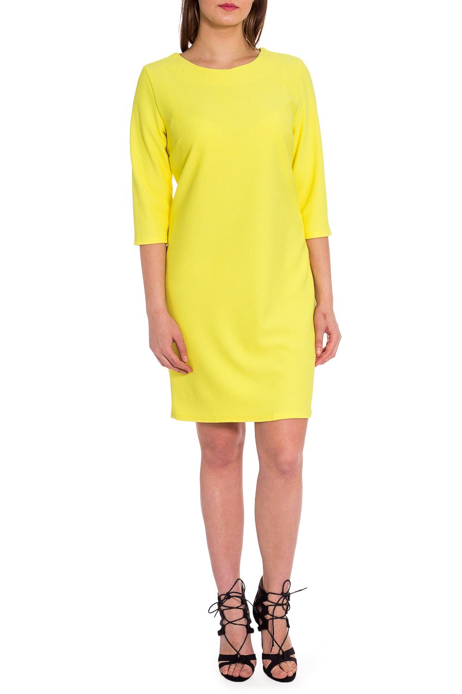 ПлатьеПлатья<br>Яркое платье с круглой горловиной и рукавами 3/4. Модель выполнена из приятного материала. Отличный выбор для любого случая.  В изделии использованы цвета: желтый  Рост девушки-фотомодели 173 см.<br><br>Горловина: С- горловина<br>По длине: До колена<br>По материалу: Тканевые<br>По рисунку: Однотонные<br>По силуэту: Полуприталенные<br>По стилю: Кэжуал,Повседневный стиль<br>По форме: Платье - футляр<br>Рукав: Рукав три четверти<br>По сезону: Осень,Весна<br>Размер : 50,52,54,60<br>Материал: Плательная ткань<br>Количество в наличии: 4