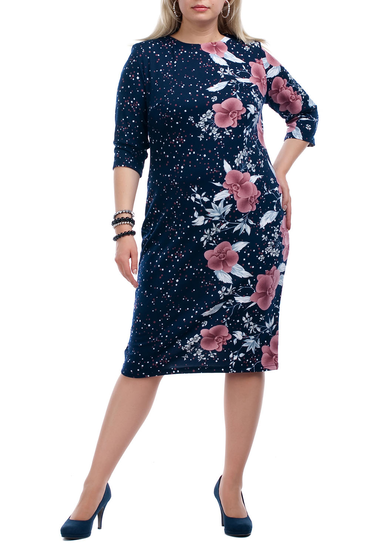 ПлатьеПлатья<br>Женственное платье с круглой горловиной и рукавами 3/4. Модель выполнена из приятного трикотажа. Отличный выбор для повседневного гардероба.  Цвет: синий, розовый, белый, голубой  Рост девушки-фотомодели 173 см.<br><br>Горловина: С- горловина<br>По длине: Ниже колена<br>По материалу: Вискоза,Трикотаж<br>По рисунку: В горошек,Растительные мотивы,С принтом,Цветные,Цветочные<br>По сезону: Весна,Осень,Зима<br>По силуэту: Приталенные<br>По стилю: Повседневный стиль,Романтический стиль<br>По форме: Платье - футляр<br>Рукав: Рукав три четверти<br>Размер : 68<br>Материал: Джерси<br>Количество в наличии: 1