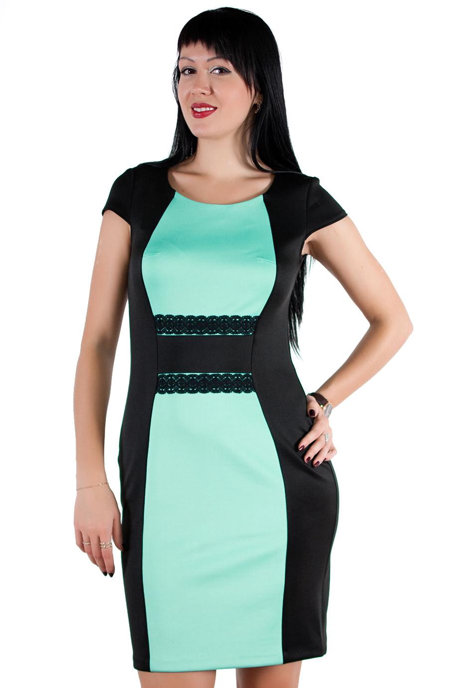 ПлатьеПлатья<br>Изумительное платье прилегающего силуэта с контрастными вставками по переду и декором из кружева. Невероятно стройнит и подчеркивает фигуру, скрывая недостатки.  Ростовка изделия 170 см.  Длина по спинке в размерах 44-48 составляет 93 см. В размерах 50-54 длина 102 см.  Длина рукава 10 см.  Цвет: черный, бирюзовый<br><br>По образу: Город,Свидание<br>По стилю: Повседневный стиль<br>По материалу: Вискоза,Трикотаж<br>По рисунку: Цветные<br>По сезону: Осень,Весна<br>По силуэту: Приталенные<br>По форме: Платье - футляр<br>По длине: До колена<br>Рукав: Короткий рукав<br>Горловина: С- горловина<br>Размер: 44,46,48,50,52,54<br>Материал: 50% вискоза 43% полиэстер 7% эластан<br>Количество в наличии: 2