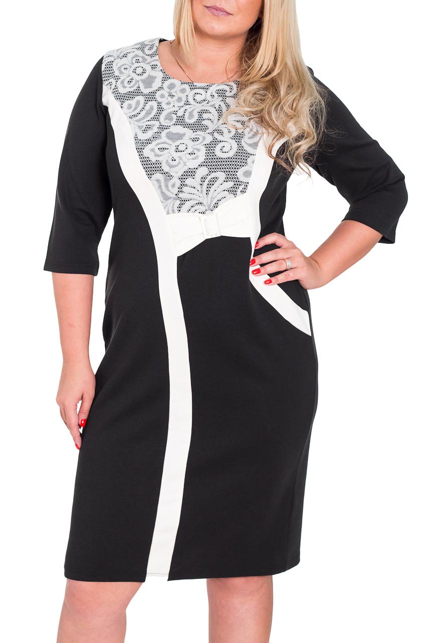 ПлатьеПлатья<br>Черно-белое платье с круглой горловиной и рукавами 3/4. Модель выполнена из плотного трикотажа. Отличный выбор для повседневного гардероба.  Цвет: черный, белый  Рост девушки-фотомодели 170 см<br><br>Горловина: С- горловина<br>По длине: Ниже колена<br>По материалу: Трикотаж<br>По рисунку: Цветные,Цветочные,С принтом<br>По стилю: Повседневный стиль<br>По форме: Платье - футляр<br>Рукав: Рукав три четверти<br>По сезону: Весна,Осень,Зима<br>По силуэту: Приталенные<br>Размер : 52<br>Материал: Джерси<br>Количество в наличии: 2