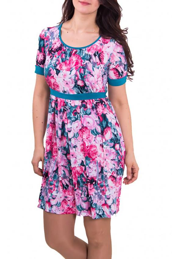 ПлатьеПлатья<br>Женское платье с круглой горловиной и коротким рукавом. Модель полуприталенного силуэта из приятного трикотажа с цветочным принтом. Отличный вариант для повседневного гардероба.   Цвет: голубой с розовым  Рост девушки-фотомодели 180 см<br><br>Горловина: С- горловина<br>По длине: Миди<br>По материалу: Вискоза,Трикотаж<br>По рисунку: Растительные мотивы,Цветные,Цветочные<br>По сезону: Весна,Лето<br>По силуэту: Полуприталенные<br>По стилю: Молодежный стиль,Повседневный стиль,Романтический стиль<br>По форме: Платье - футляр<br>Рукав: Короткий рукав<br>Размер : 52,54,56<br>Материал: Холодное масло<br>Количество в наличии: 3