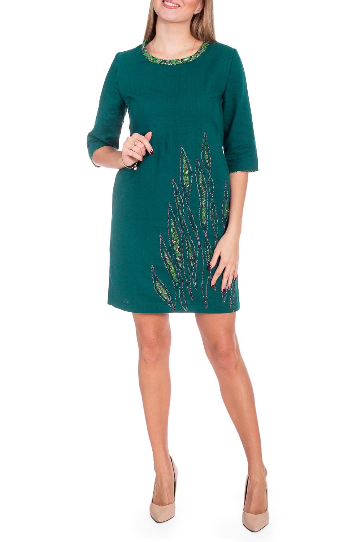 ПлатьеПлатья<br>Красивое женское платье из хлопкового материала с декоративным принтом по низу изделия. Отличный выбор для повседневного гардероба.  В изделии использованы цвета: зеленый и др.  Рост девушки-фотомодели 170 см<br><br>Горловина: С- горловина<br>По длине: До колена<br>По материалу: Хлопок<br>По сезону: Зима,Осень,Весна<br>По силуэту: Полуприталенные<br>По стилю: Повседневный стиль<br>По элементам: С декором,С разрезом<br>Рукав: Рукав три четверти<br>Разрез: Короткий,Шлица<br>Размер : 44,46,48,52<br>Материал: Хлопок<br>Количество в наличии: 6