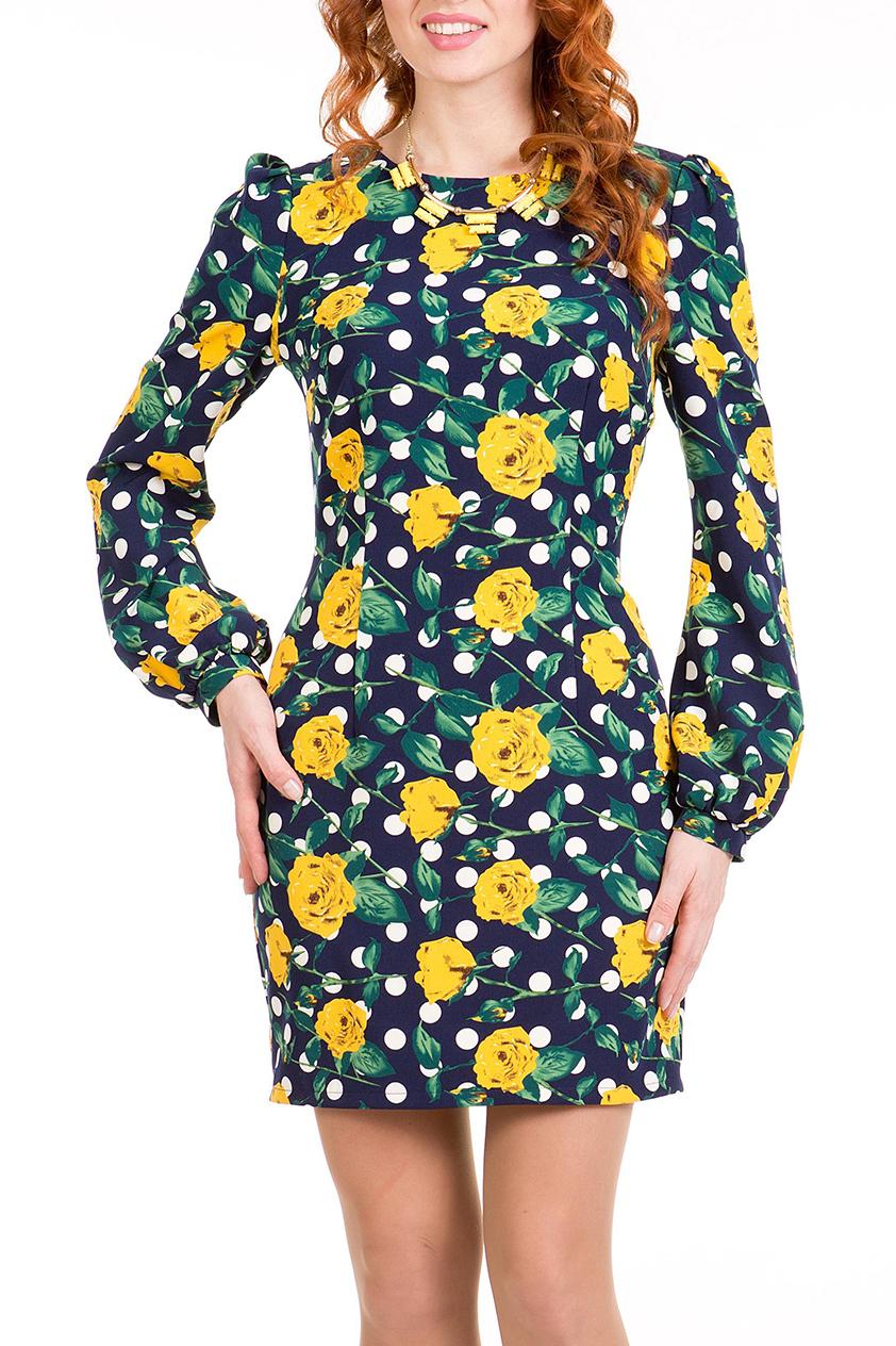 ПлатьеПлатья<br>Эффектное молодежное платье прилегающего силуэта, длиной выше колена, выполнено из ткани с ярким рисунком. Рукав втачной длинный на манжете со сборкой по окату и низу, вырез горловины овальный.   Длина платья 76 – 82 см.  В изделии использованы цвета: синий, зеленый, желтый, белый  Ростовка изделия 170 см<br><br>Горловина: С- горловина<br>По длине: До колена<br>По материалу: Тканевые<br>По рисунку: В горошек,Растительные мотивы,С принтом,Цветные,Цветочные<br>По силуэту: Полуприталенные<br>По стилю: Повседневный стиль<br>По форме: Платье - футляр<br>По элементам: С манжетами<br>Рукав: Длинный рукав<br>По сезону: Осень,Весна,Зима<br>Размер : 44,46,48,50,52<br>Материал: Трикотаж<br>Количество в наличии: 10