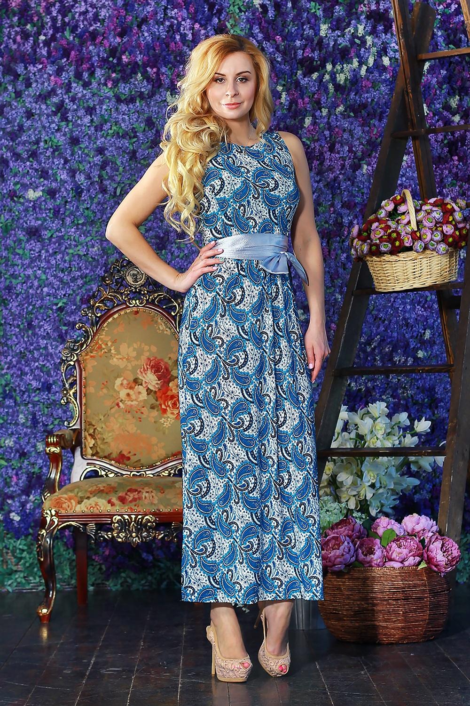 ПлатьеПлатья<br>Прелестное длинное платье из легкого струящегося трикотажного полотна. Платье отрезное по линии талии с отрезными бочками на полочке и спинке. Юбка прямая с высокими разрезами по боковым швам. Пояс в комплект не входит.  Цвет: голубой и др.  Рост девушки-фотомодели 175 см<br><br>Горловина: С- горловина<br>По длине: Макси<br>По материалу: Вискоза,Трикотаж<br>По рисунку: Растительные мотивы,С принтом,Цветные,Этнические<br>По силуэту: Полуприталенные<br>По стилю: Летний стиль,Повседневный стиль<br>По элементам: С разрезом<br>Разрез: Длинный<br>Рукав: Без рукавов<br>По сезону: Лето<br>Размер : 42,44<br>Материал: Холодное масло<br>Количество в наличии: 3