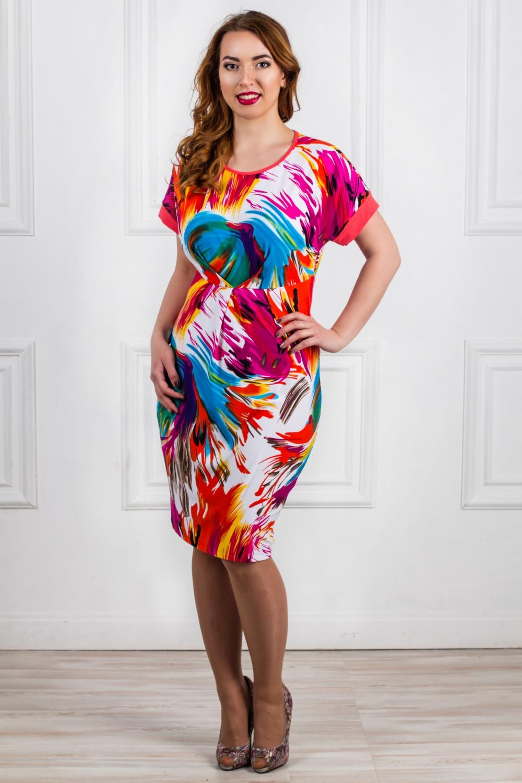 ПлатьеПлатья<br>Женское платье с круглой горловиной и короткими рукавами. Модель выполнена из мягкой вискозы. Отличный выбор для повседневного гардероба. Платье без пояса.  Цвет: розовый, фиолетовый, голубой, белый  Рост девушки-фотомодели - 168 см<br><br>Горловина: С- горловина<br>По материалу: Вискоза,Трикотаж<br>По рисунку: Цветные,С принтом<br>По сезону: Весна,Осень<br>По силуэту: Полуприталенные<br>Рукав: Короткий рукав<br>По форме: Платье - футляр<br>По стилю: Повседневный стиль<br>По длине: Ниже колена<br>Размер : 46,48,50,52<br>Материал: Вискоза<br>Количество в наличии: 12