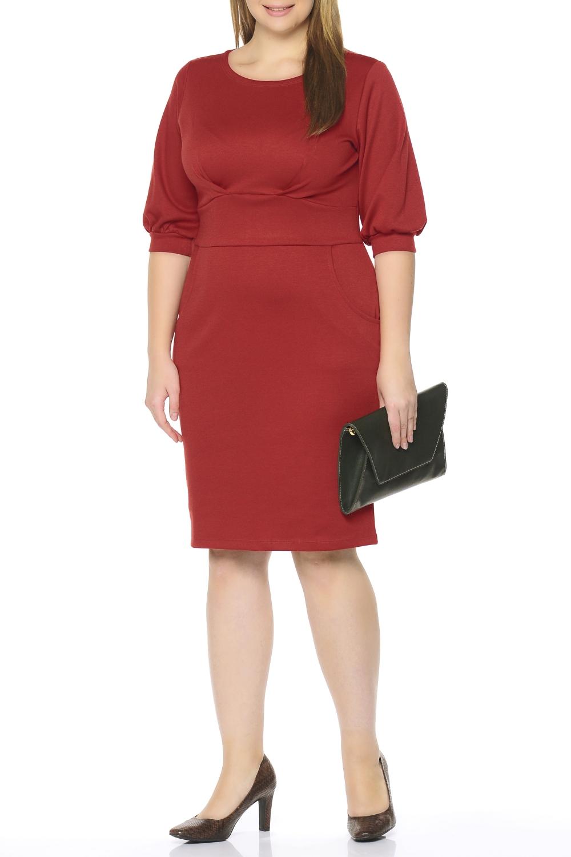 ПлатьеПлатья<br>Идеальное платье, подчеркивающее достоинства и скрывающее недостатки фигуры. Все детали этой модели создают женственный силуэт песочные часы: акцентирующая внимание на талии вставка спереди, декоративные складки исходящие от пояса к груди, крупные втачные карманы в области бедер. Рукав три четверти, расширенный снизу, на манжете. Обувь на каблуках и эффектный аксессуар - отличное дополнение к платью. Ткань - плотный трикотаж, характеризующийся эластичностью, растяжимостью и мягкостью.  Длина изделия по спинке 101 см.  В изделии использованы цвета: красный  Рост девушки-фотомодели 170 см.<br><br>Горловина: С- горловина<br>По длине: Ниже колена<br>По материалу: Вискоза,Трикотаж<br>По рисунку: Однотонные<br>По силуэту: Приталенные<br>По стилю: Кэжуал,Повседневный стиль<br>По форме: Платье - футляр<br>По элементам: С декором,С карманами,С манжетами<br>Рукав: Рукав три четверти<br>По сезону: Осень,Весна,Зима<br>Размер : 52,54,56,58,60<br>Материал: Трикотаж<br>Количество в наличии: 5