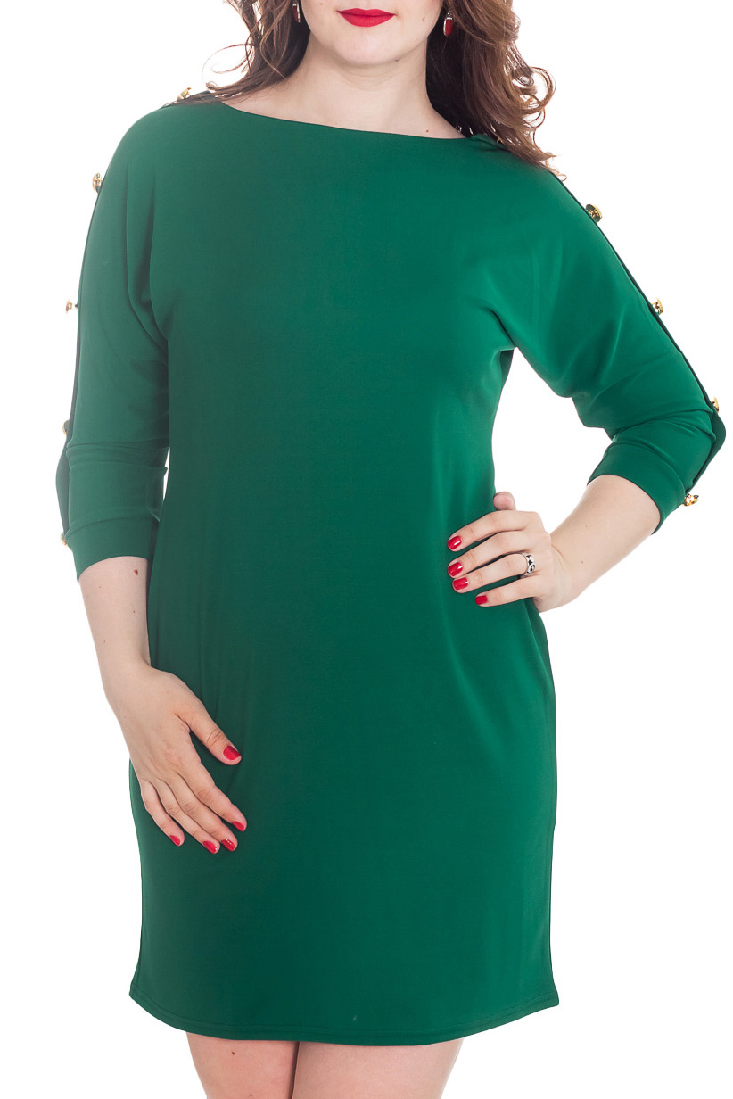 ПлатьеПлатья<br>Элегантное платье полуприлегающего силуэта с цельнокроеным рукавом 3/4 на манжете. Модель выполнена из комфортного трикотажа, рукав декорирован планкой с пуговицами.  Длина изделия около 85 см.  Цвет: зеленый.  Рост девушки-фотомодели 180 см<br><br>Горловина: Лодочка<br>По длине: До колена<br>По материалу: Трикотаж<br>По образу: Город,Офис,Свидание<br>По рисунку: Однотонные<br>По силуэту: Полуприталенные<br>По стилю: Классический стиль,Кэжуал,Офисный стиль,Повседневный стиль<br>По форме: Платье - футляр<br>По элементам: С декором,С манжетами,С отделочной фурнитурой<br>Рукав: Рукав три четверти<br>По сезону: Осень,Весна<br>Размер : 46-48,50-52,54-56<br>Материал: Трикотаж<br>Количество в наличии: 3