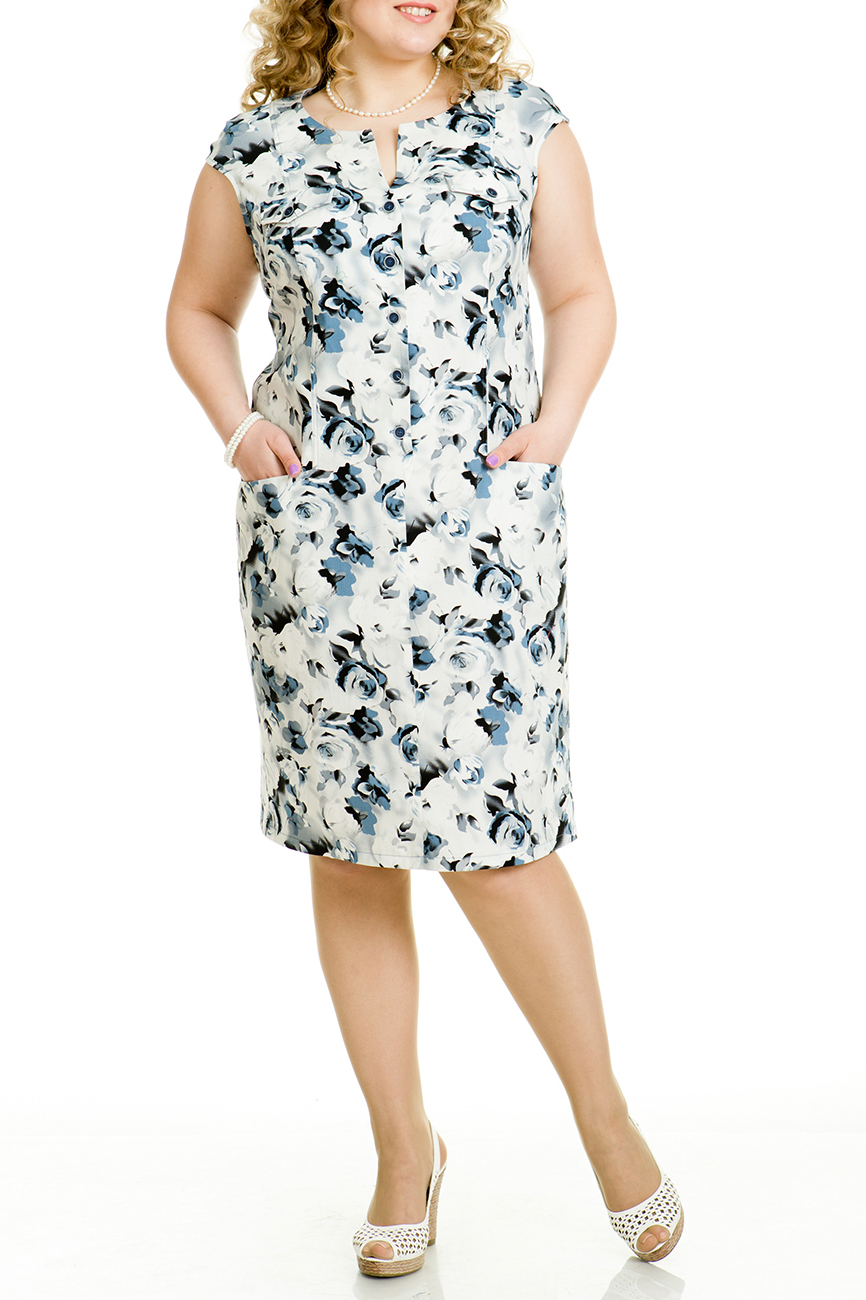 ПлатьеПлатья<br>Стильное платье прилегающего силуэта без рукавов со спущенным плечом, длиной за колено. Вырез горловины фигурный. Спереди центральная застежка до линии бедра на петли и пуговицы, рельефы и боковые карманы с наклонной линией входа. Выше линии груди настрочены декоративные клапаны. Сзади шлица в среднем шве спинки.   Длина платья по спинке 95 – 102 см.  В изделии использованы цвета: молочный, серый, черный, белый  Ростовка изделия 170 см<br><br>Горловина: V- горловина,С- горловина<br>По длине: Ниже колена<br>По материалу: Тканевые,Хлопок<br>По образу: Город<br>По рисунку: Растительные мотивы,С принтом,Цветные,Цветочные<br>По силуэту: Полуприталенные<br>По стилю: Повседневный стиль<br>По форме: Платье - футляр<br>По элементам: С разрезом<br>Рукав: Короткий рукав<br>По сезону: Лето<br>Размер : 46,48,50<br>Материал: Хлопок<br>Количество в наличии: 6