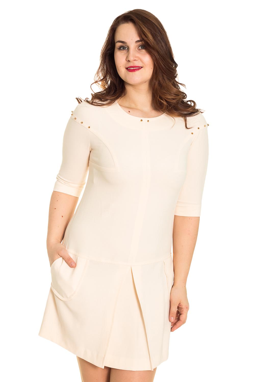 ПлатьеПлатья<br>Чудное платье с круглой горловиной и рукавами 3/4. Модель выполнена из плотного материала. Отличный выбор для любого случая.  Цвет: молочный  Рост девушки-фотомодели 180 см<br><br>По образу: Свидание,Город,Офис<br>По стилю: Офисный стиль,Повседневный стиль<br>По материалу: Тканевые<br>По рисунку: Однотонные<br>По сезону: Весна,Осень<br>По силуэту: Полуприталенные<br>По элементам: С отделочной фурнитурой,Со складками,С декором<br>По форме: Платье - трапеция<br>По длине: До колена<br>Рукав: Рукав три четверти<br>Горловина: С- горловина<br>Размер: 48<br>Материал: 65% полиэстер 30% вискоза 5% эластан<br>Количество в наличии: 1
