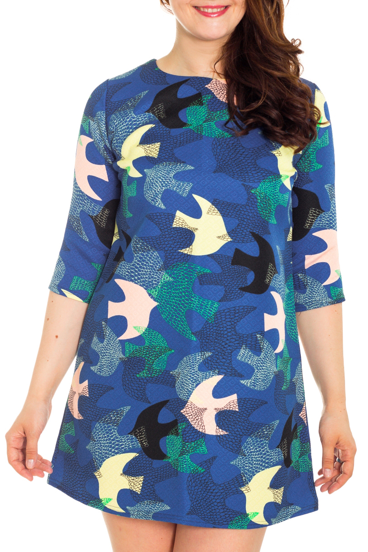 ПлатьеПлатья<br>Яркое платье с рукавами 3/4. Модель выполнена из приятного материала. Отличный выбор для повседневного гардероба.  Цвет: синий, белый, бирюзовый, черный  Рост девушки-фотомодели 180 см.<br><br>Горловина: С- горловина<br>По длине: До колена<br>По материалу: Тканевые<br>По образу: Город,Свидание<br>По рисунку: С принтом,Цветные<br>По силуэту: Полуприталенные<br>По стилю: Повседневный стиль<br>По форме: Платье - трапеция<br>Рукав: Рукав три четверти<br>По сезону: Осень,Весна<br>Размер : 46<br>Материал: Плательная ткань<br>Количество в наличии: 1