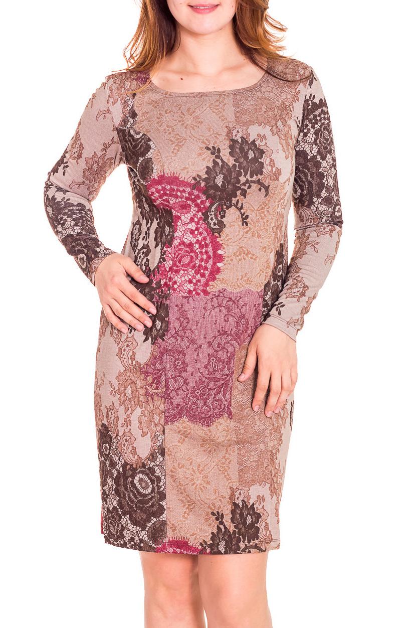 ПлатьеПлатья<br>Привлекательное женское платье с закругленной горловиной и длинными рукавами. Модель выполнена из приятного трикотажа с абстрактным принтом. Отличный выбор для повседневного гардероба.  Цвет: бежевый, коричневый, розовый  Рост девушки-фотомодели 180 см.<br><br>Горловина: С- горловина<br>По длине: До колена<br>По материалу: Вискоза,Трикотаж<br>По рисунку: Цветные,С принтом,Растительные мотивы,Цветочные<br>По сезону: Весна,Осень,Зима<br>По стилю: Повседневный стиль<br>По форме: Платье - футляр<br>Рукав: Длинный рукав<br>По силуэту: Приталенные<br>Размер : 50<br>Материал: Трикотаж<br>Количество в наличии: 3