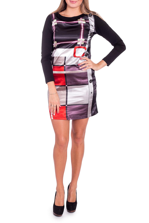 ПлатьеПлатья<br>Замечательное платье приталенного силуэта. Модель выполнена из приятного материала. Отличный выбор для любого случая.  В изделии использованы цвета: черный, серый и др.  Рост девушки-фотомодели 170 см<br><br>Горловина: С- горловина<br>По длине: До колена<br>По материалу: Атлас,Трикотаж<br>По рисунку: С принтом,Цветные<br>По силуэту: Приталенные<br>По стилю: Повседневный стиль<br>По форме: Платье - футляр<br>Рукав: Длинный рукав<br>По сезону: Осень,Весна<br>Размер : 46<br>Материал: Трикотаж + Атлас<br>Количество в наличии: 1