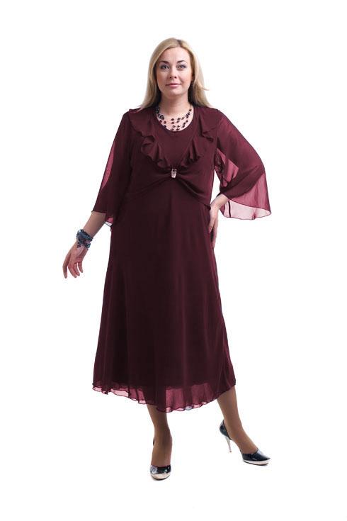 ПлатьеПлатья<br>Шикарное женское платье из струящегося шифона.  Цвет: бордовый  Рост девушки-фотомодели 173 см.<br><br>Горловина: С- горловина<br>По длине: Миди,Ниже колена<br>По материалу: Шифон<br>По образу: Выход в свет,Свидание<br>По рисунку: Однотонные<br>По сезону: Весна,Всесезон,Зима,Лето,Осень<br>По силуэту: Полуприталенные<br>По стилю: Нарядный стиль<br>По форме: Платье - трапеция<br>По элементам: С воланами и рюшами,С декором<br>Рукав: Рукав три четверти<br>Размер : 64,68<br>Материал: Шифон<br>Количество в наличии: 3